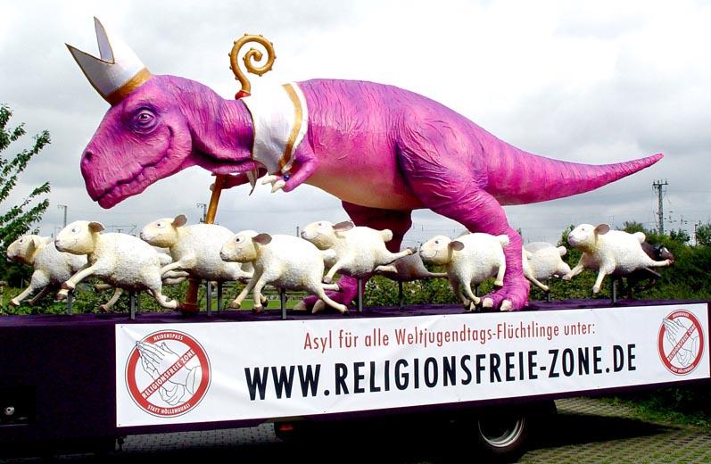 Wagen für die Religionsfreie-Zone anlässlich des katholischen Weltjugendtags 2005.