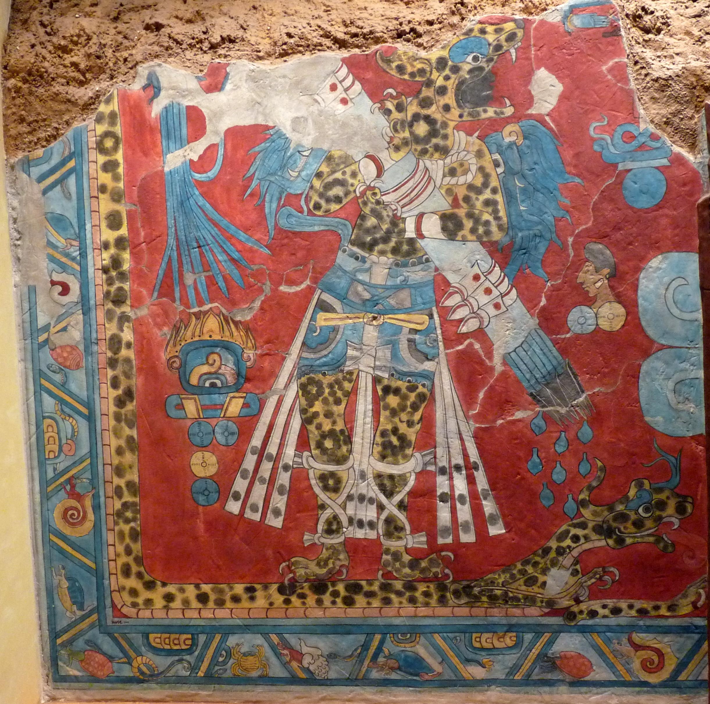 File guerrero jaguar cacaxtla jpg wikimedia commons for El mural de bonampak