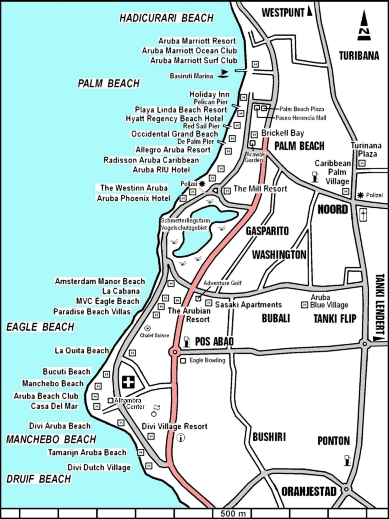 Aruba Hotel Map Palm Beach The Best Beaches In World