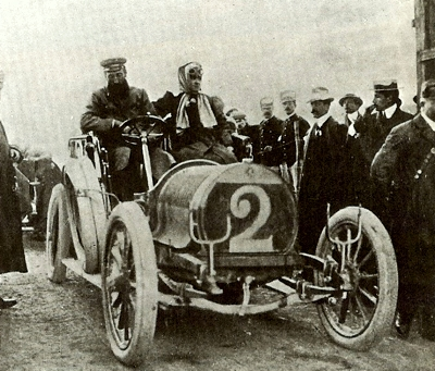 File:Hubert and Mme Le Blon at 1906 Targa Florio driving Hotchkiss.jpg