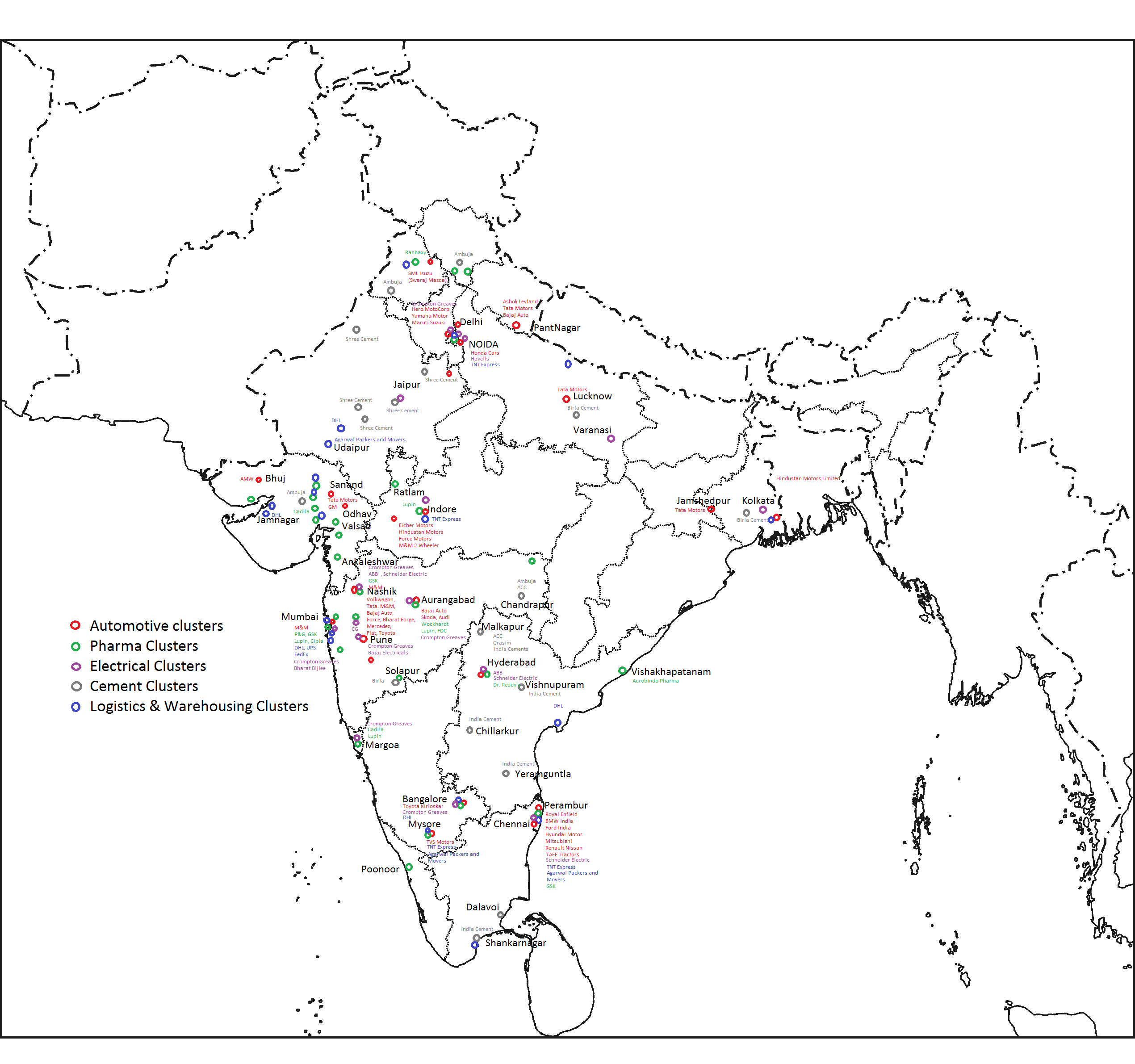 industrial map of india List Of Industrial Centres In India Wikipedia industrial map of india