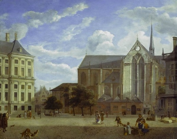The Dam in Amsterdam towards the Townhall and Nieuwe Kerk