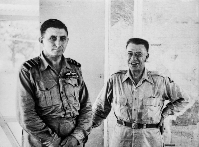 Royal Australian Air Force chief, Air Vice Marshal George Jones (left) meeting the Allied air forces commander in the SWPA, Lieutenant General George Kenney (right) in mid-1945, in Manila. - South West Pacific Area (command)