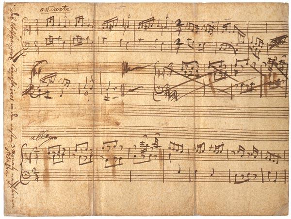 Анданте и Аллегро До мажор, записанные рукой Леопольда Моцарта