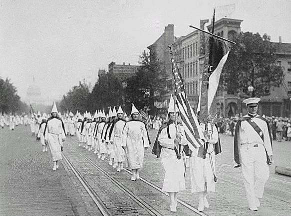 Ku Klux Klan members march down Pennsylvania Avenue in Washington, D.C. in 1928