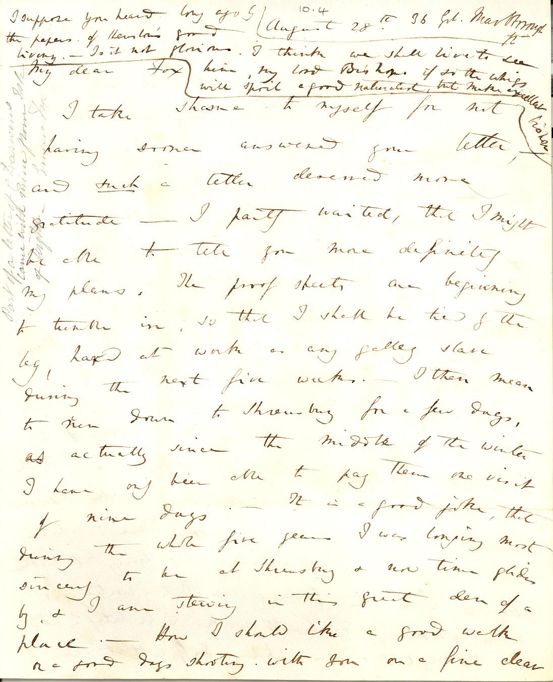 Fileletter Charles R Darwin To William Darwin Fox August