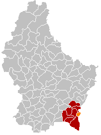 Map showing, in orange, the Remich commune