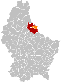 Map showing, in orange, the Vianden commune