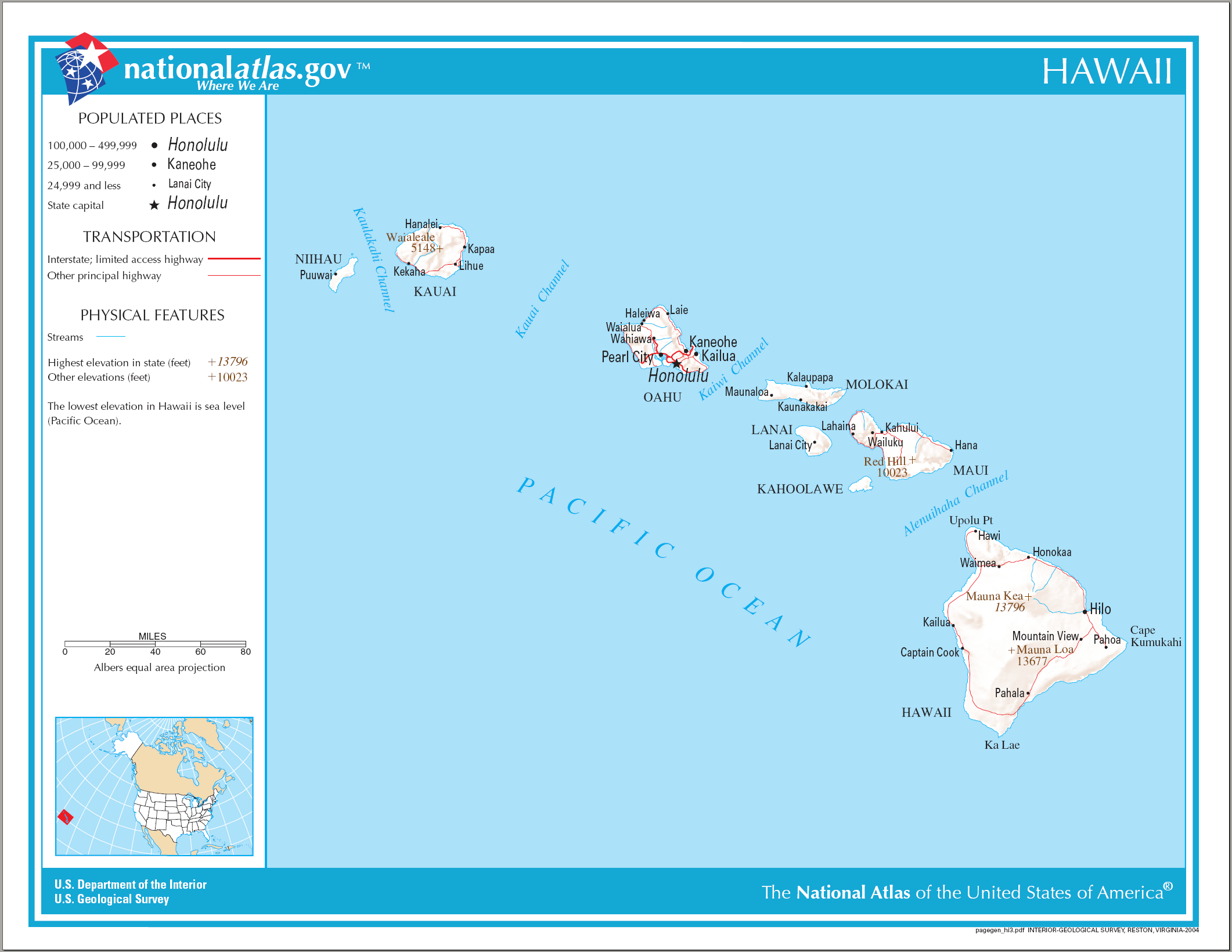 Hawaiian State Map Of The State Of Hawaii In