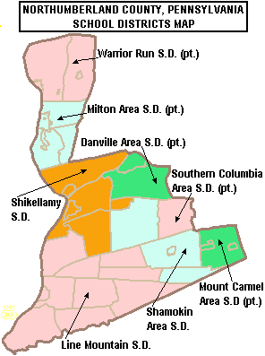 Map of Northumberland County Pennsylvania School Districts.png