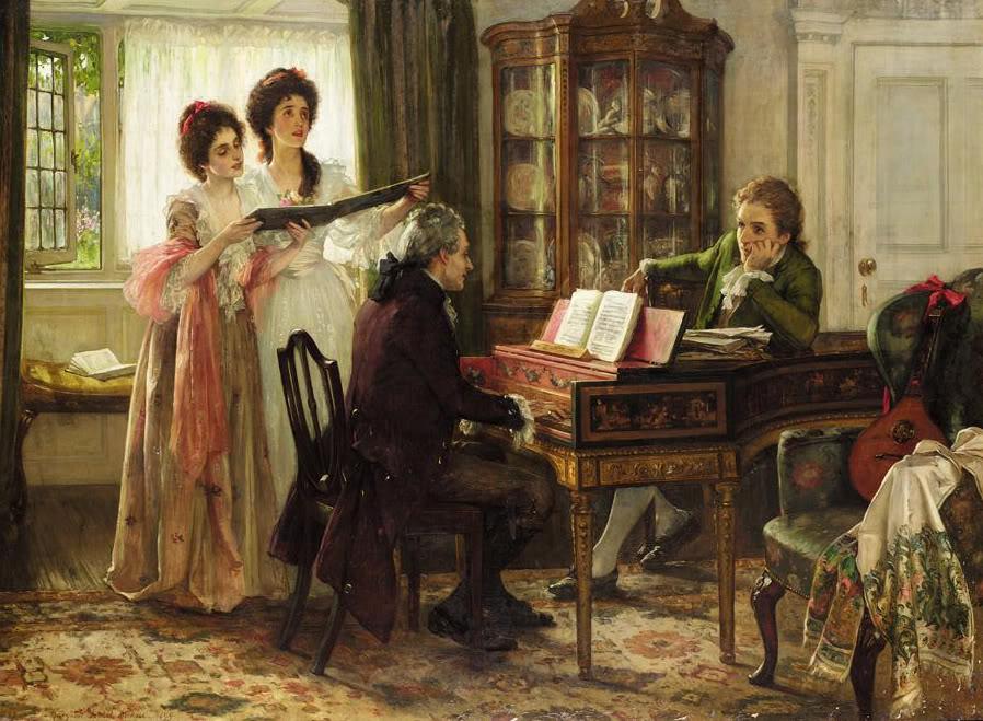 Two women singing beside man playing piano