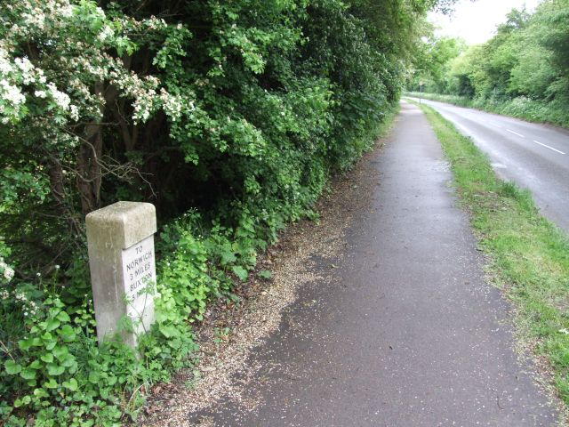 Milestone by Road and Cycle path - geograph.org.uk - 435990