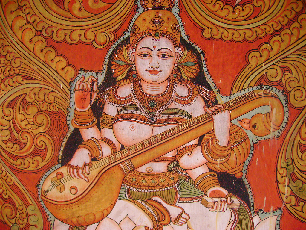 File mural painting from kollur mookambika for Airbrushing mural