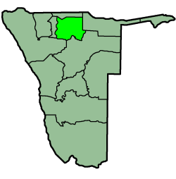 Location of the Oshikoto Region in Namibia
