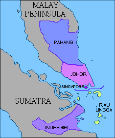 Map showing the partition of the Johor Empire before and after the Anglo-Dutch Treaty of 1824, with the post-partition Johor Sultanate shown in the brightest purple, at the tip of the Malay Peninsula[1]