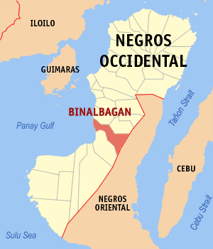 Map of Negros Occidental showing the location of Binalbagan