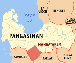 Map of Pangasinan showing the location of Mangatarem