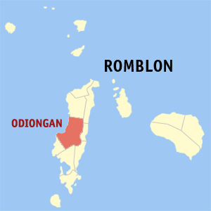 Map of Romblon showing the location of Odiongan