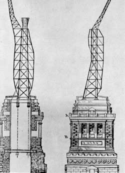 Interior structural elements of the Statue of Liberty designed by Gustave Eiffel. RahmenStatue1885.jpg
