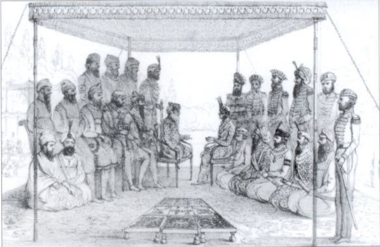 Ranjit Singh holding court - Court and Camp of Runjeet Singh - pg203.jpg