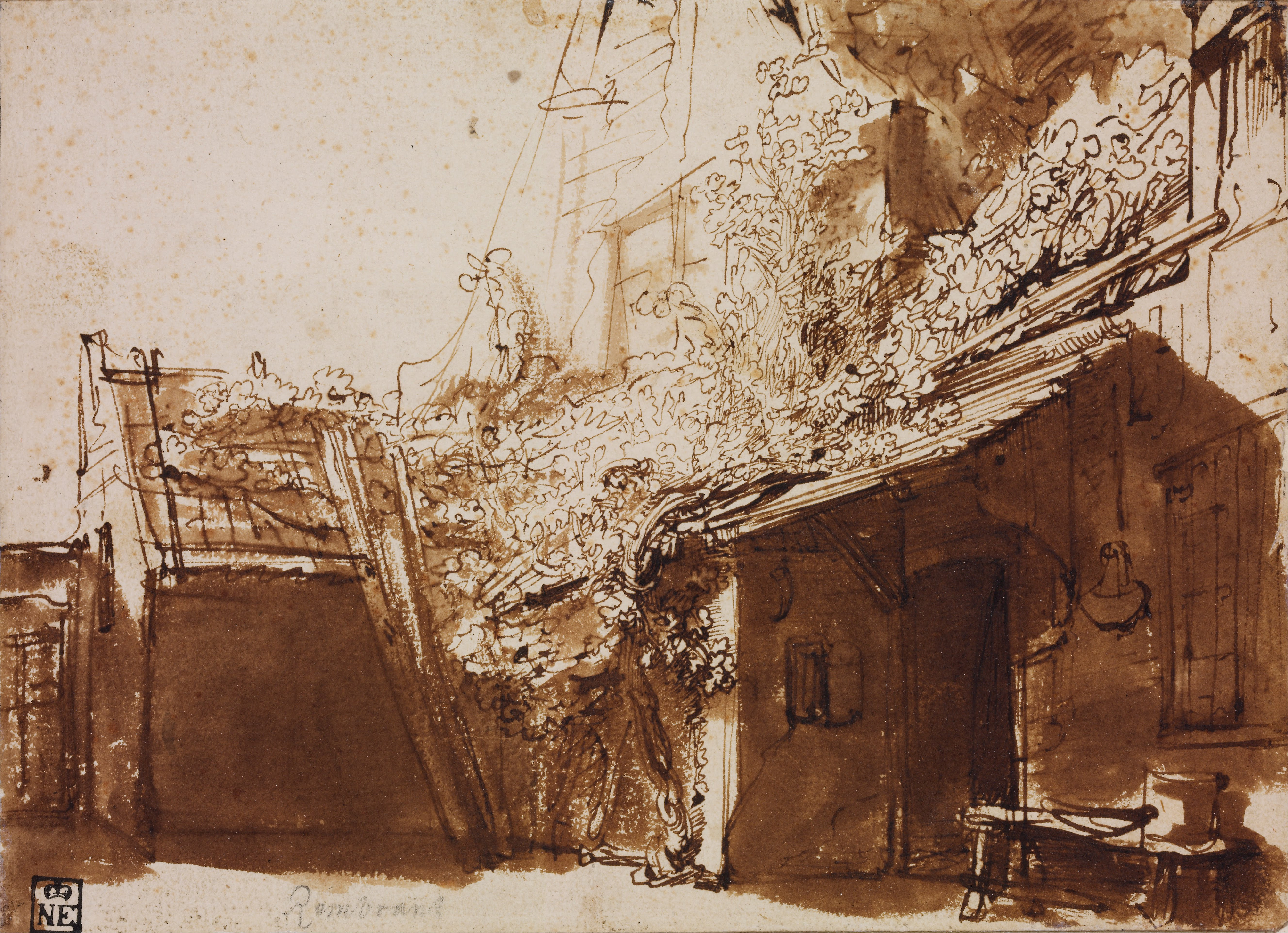 Draw Paint Print Rembrandt Dutch Farmhouse In Light And