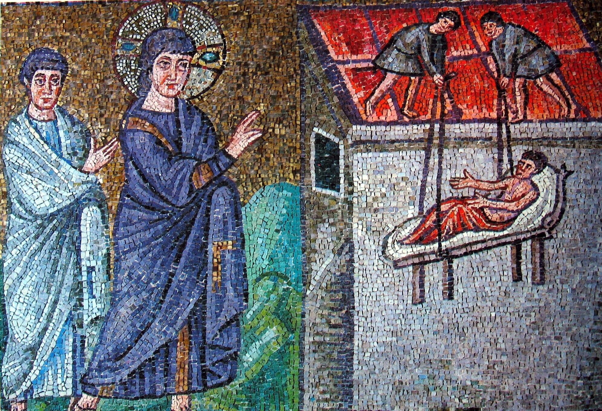 Mozaïek van de genezing van een verlamde in de Basiliek van Sant'Apollinare Nuovo (6e eeuw)