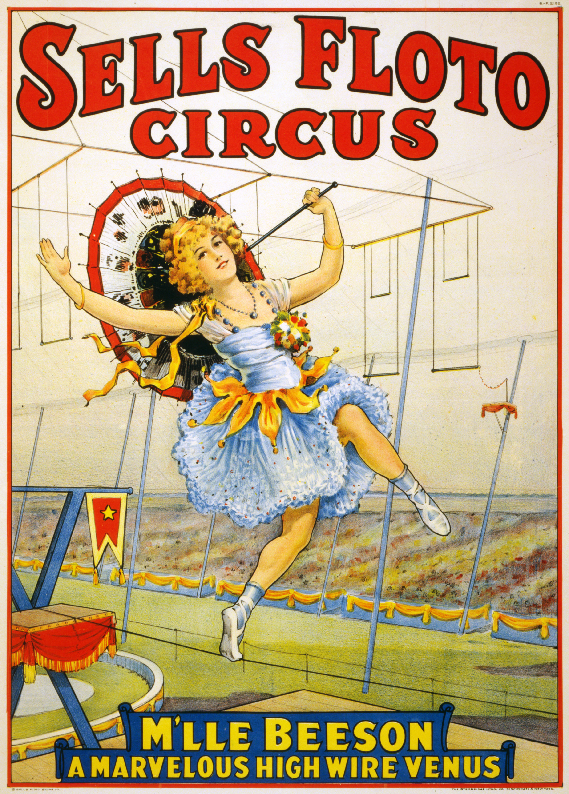 File sells floto circus presents m 39 lle beeson a marvelous for Circus posters free