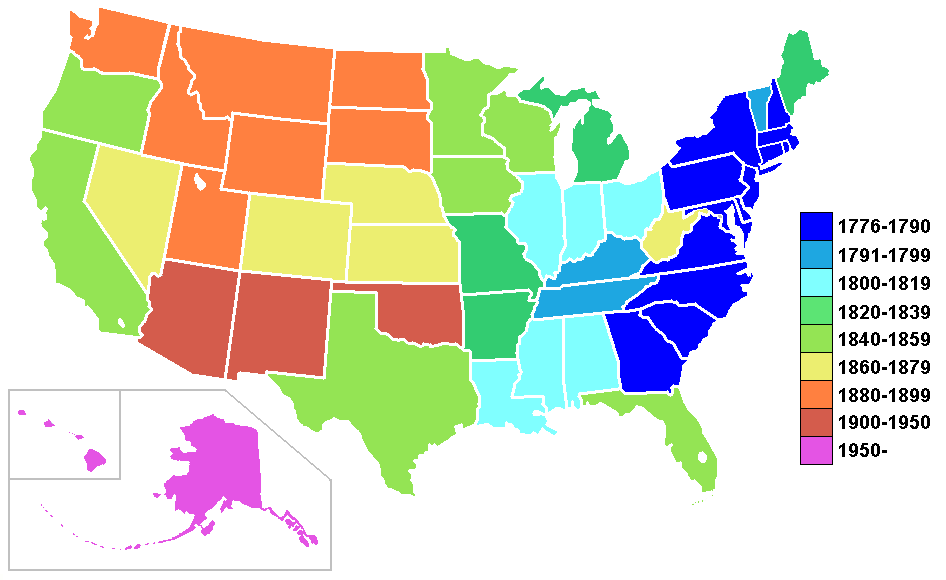 FileUS States By Date Of StatehoodPNG Wikimedia Commons - Map of us by date of admission