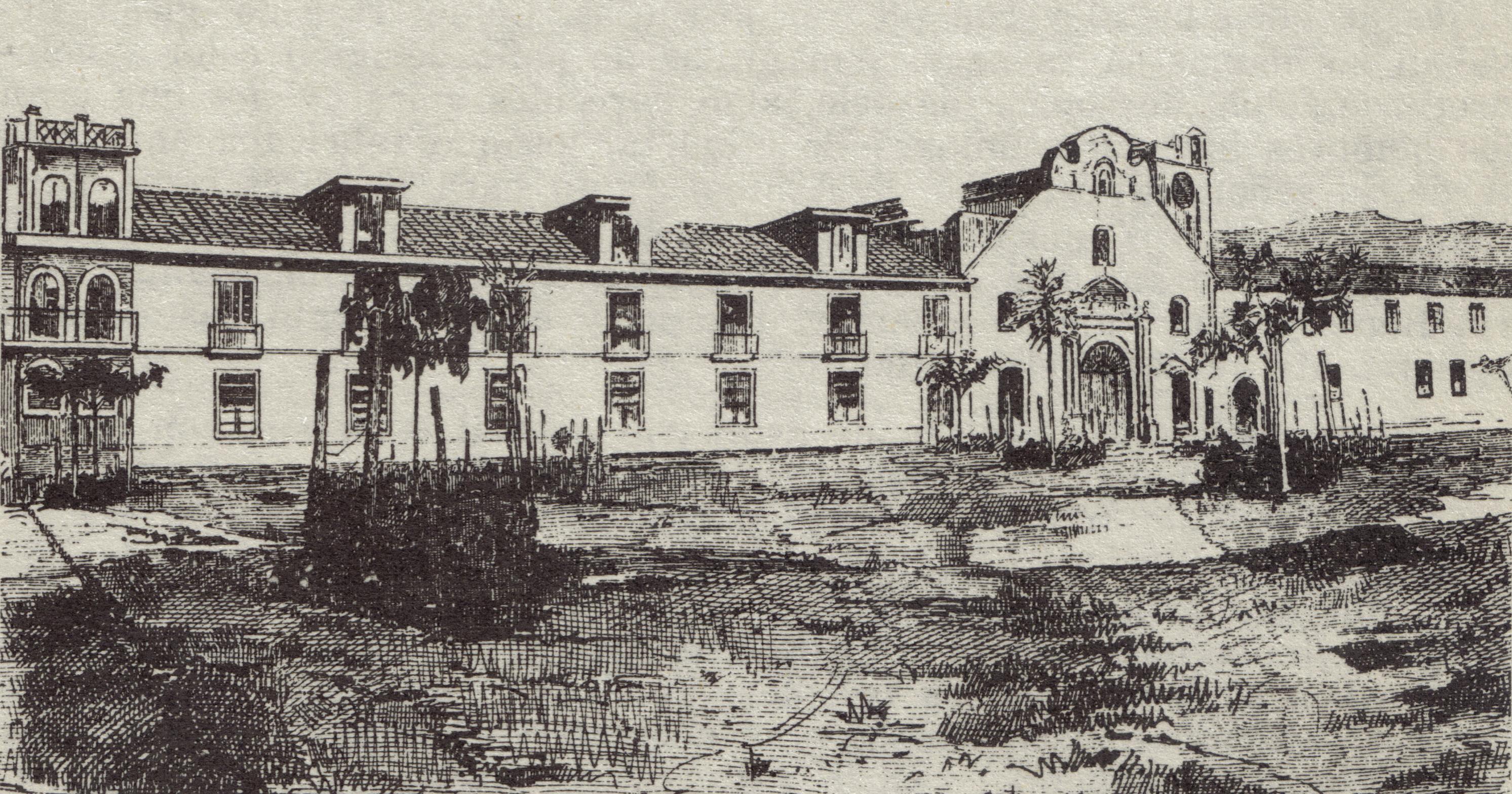 Universidad de Antioquia (izquierda) antes de la gran reforma. En el medio Iglesia de San Ignacio y al otro costado quedaba el colegio de San Ignacio.