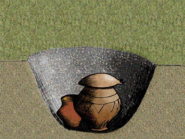 Tumba típica de la Cultura de los Campos de Urnas de Centroeuropa, en el Bronce Final