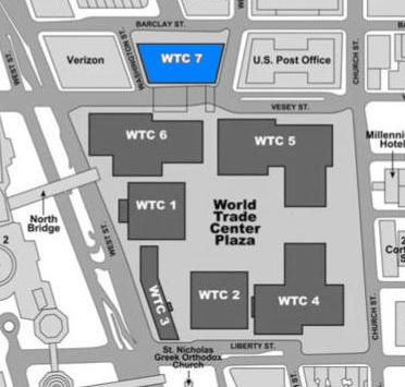 The position of building 7 in relation to the other WTC buildings before September 11, 2001 WTC Building Arrangement and Site Plan (building 7 highlighted).jpg