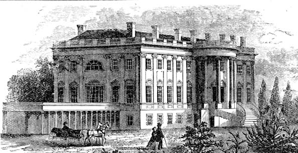 Mid-19th century engraving showing the White House from the South-West.
