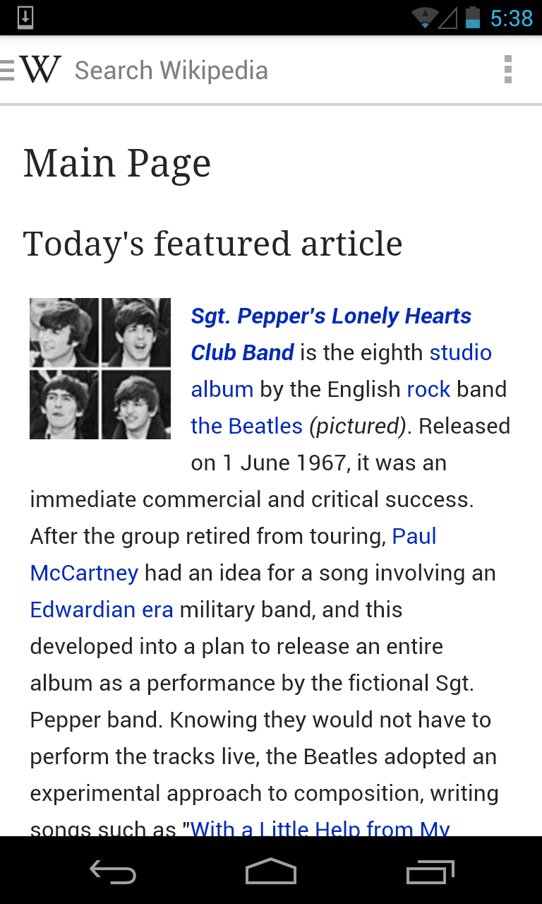 Главна страница енглеске Википедије на новој Андроид апликацији.