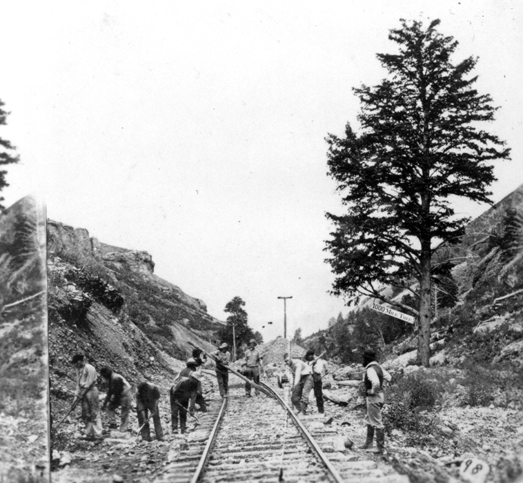 1,000-mile tree on the Transcontinental Railroad, Weber County Utah, 1869