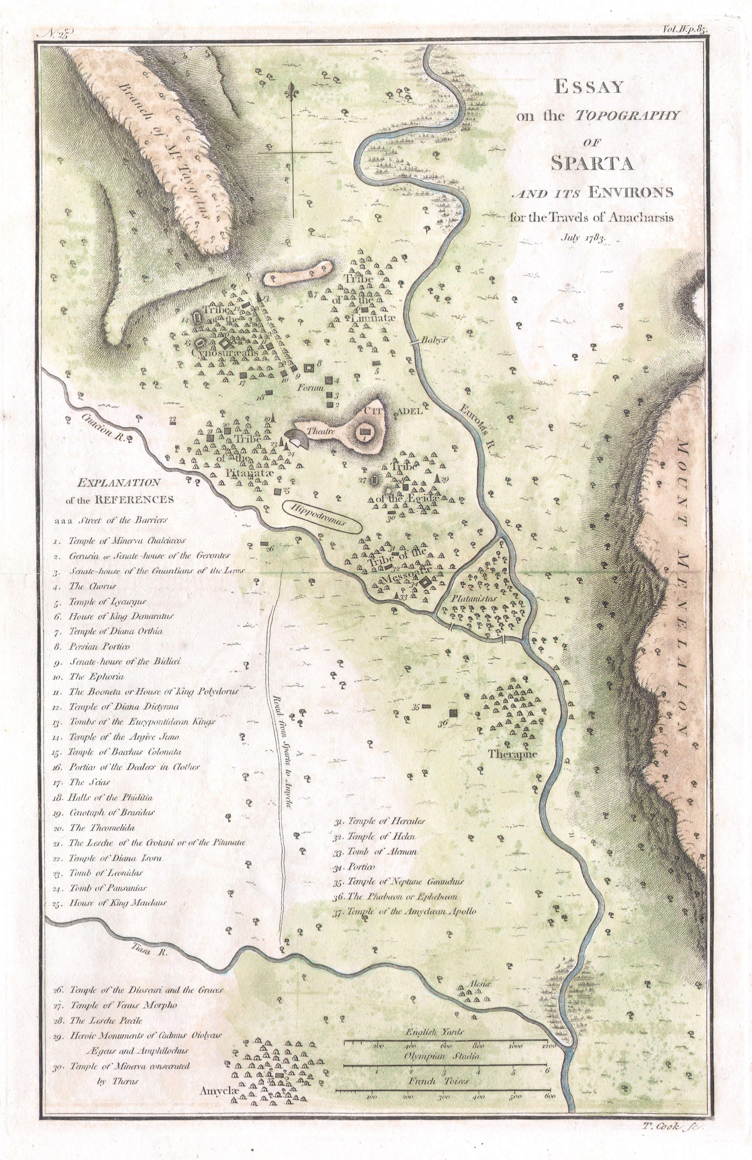 File Bocage Map Of The Topography Of Sparta Ancient Greece - Topographical map of us of 1783