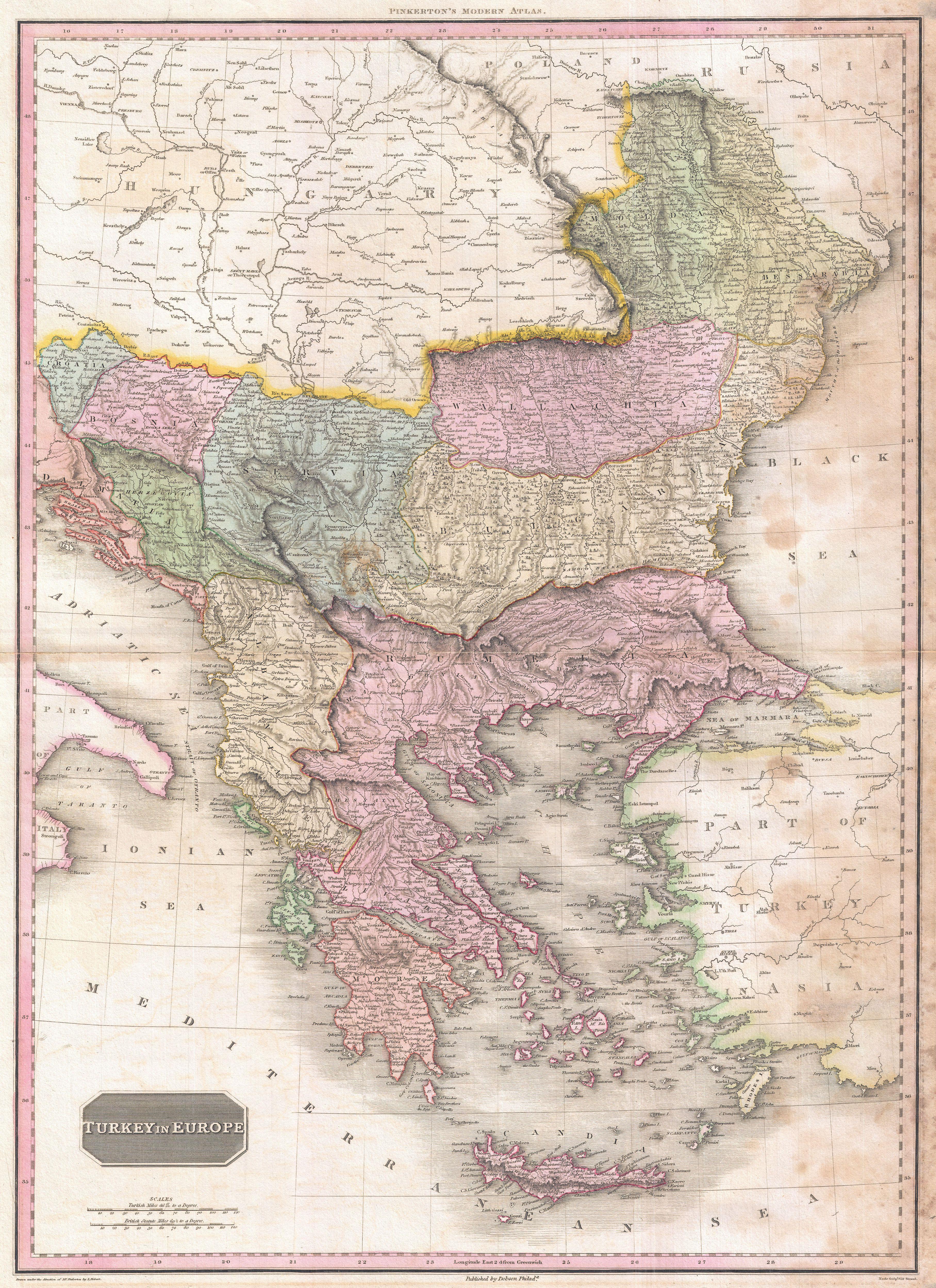 Turkey On Europe Map.File 1818 Pinkerton Map Of Turkey In Europe Greece Andamp The