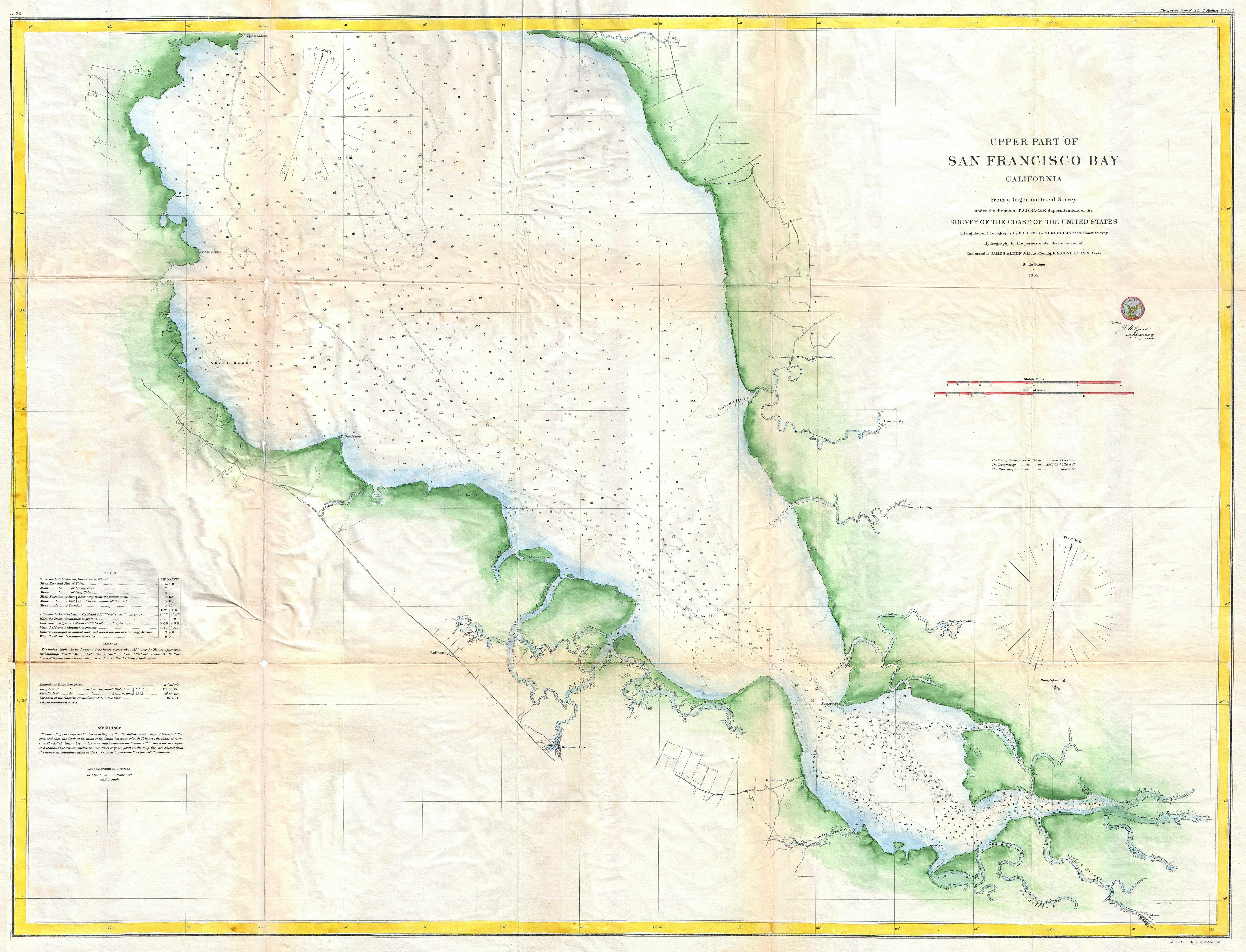 file 1862 u s coast survey map of the southern part of san francisco bay