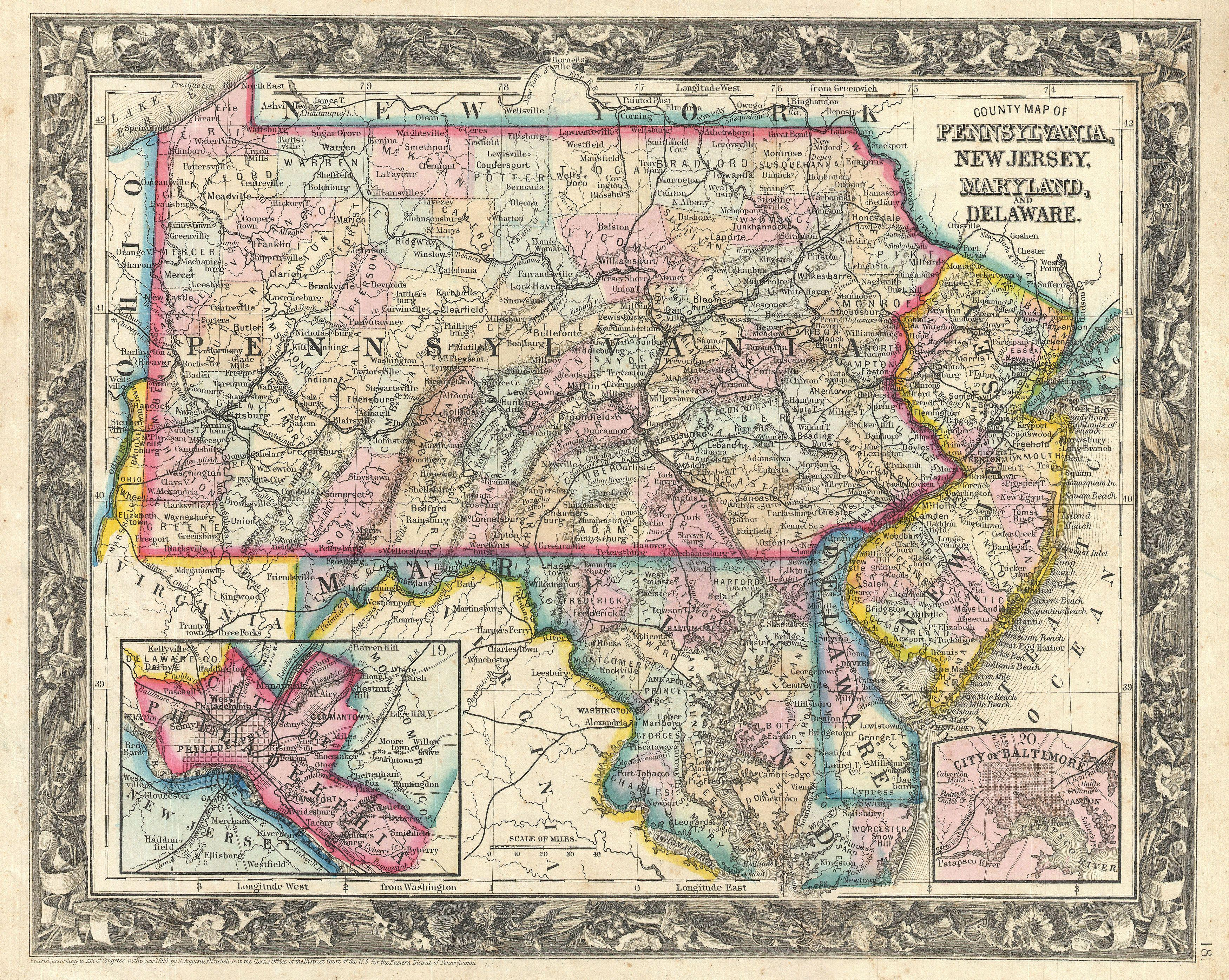 File1863 Mitchell Map Of Pennsylvania New Jersey