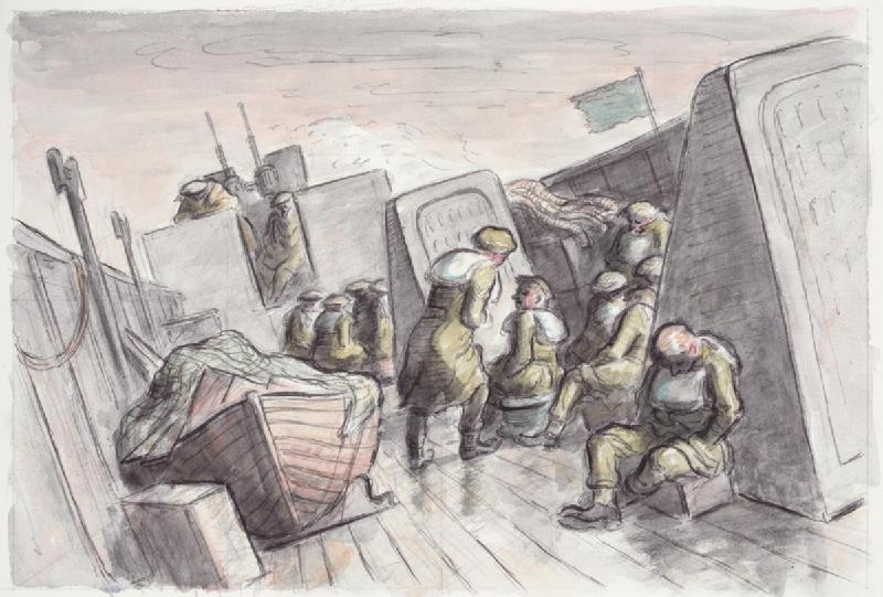 the centre of the deck, leaning to maintain balance while talking to a seated man. On the left side of the deck is a covered wooden lifeboat. A green