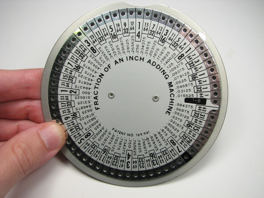 fraction of an inch adding machine