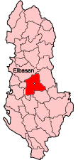 Map showing Elbasan within Albania