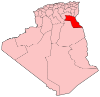 Localisation d'El-Oued en Algérie