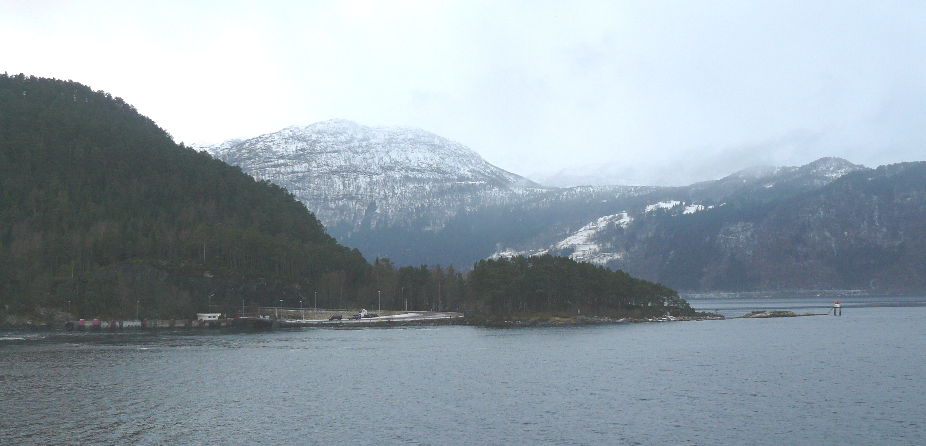 Anda ferry slip, Gloppen, Norway. To the right...