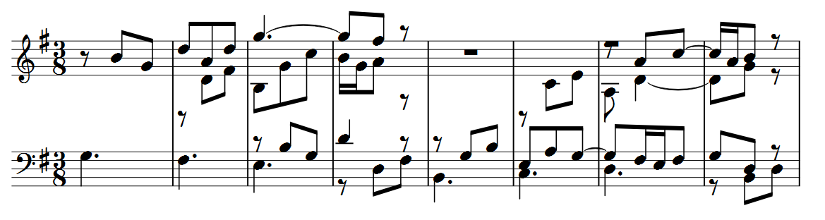 First 8 bars of the fourth variation.