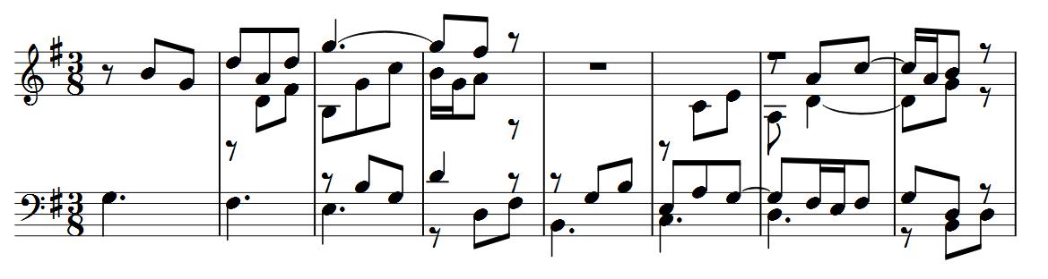 Primeiros 8 compassos da quarta variação.