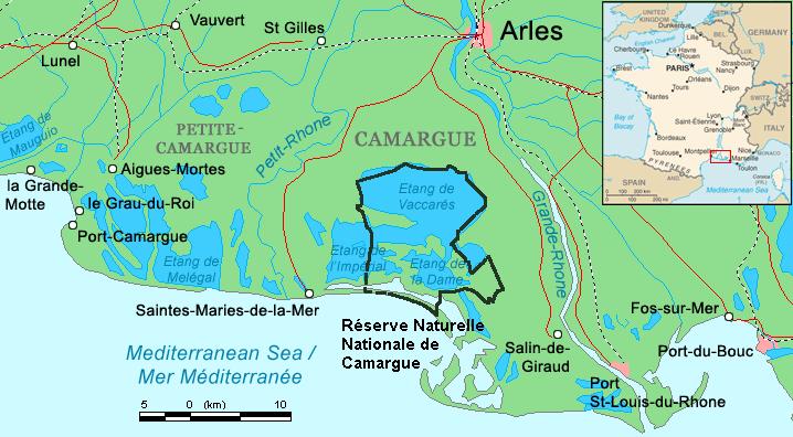 Mapa da região Camargue