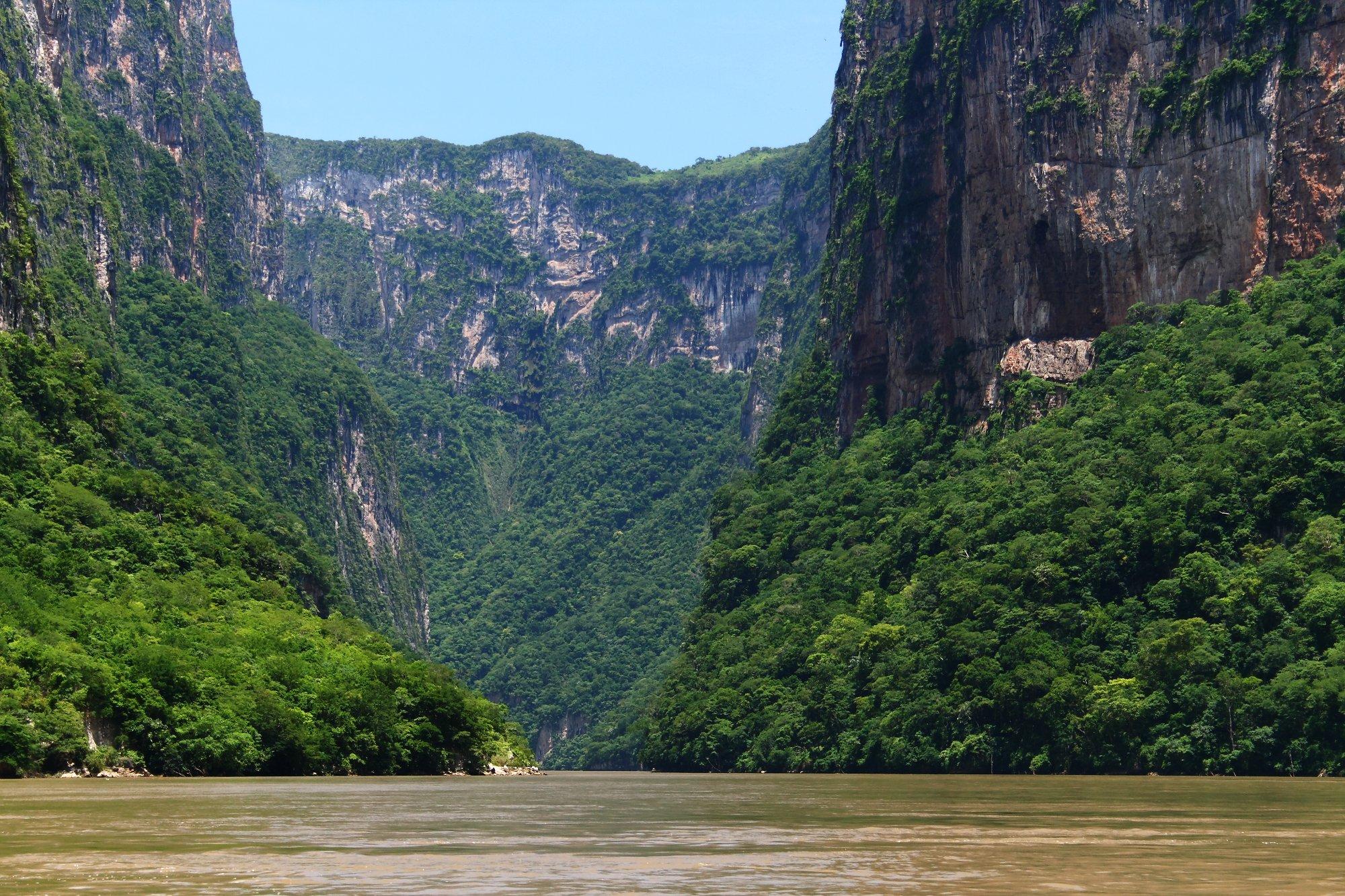 Řeka Grijalva obrostlá pralesy