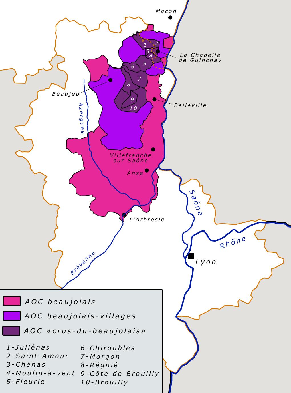Carte vignoble beaujolais