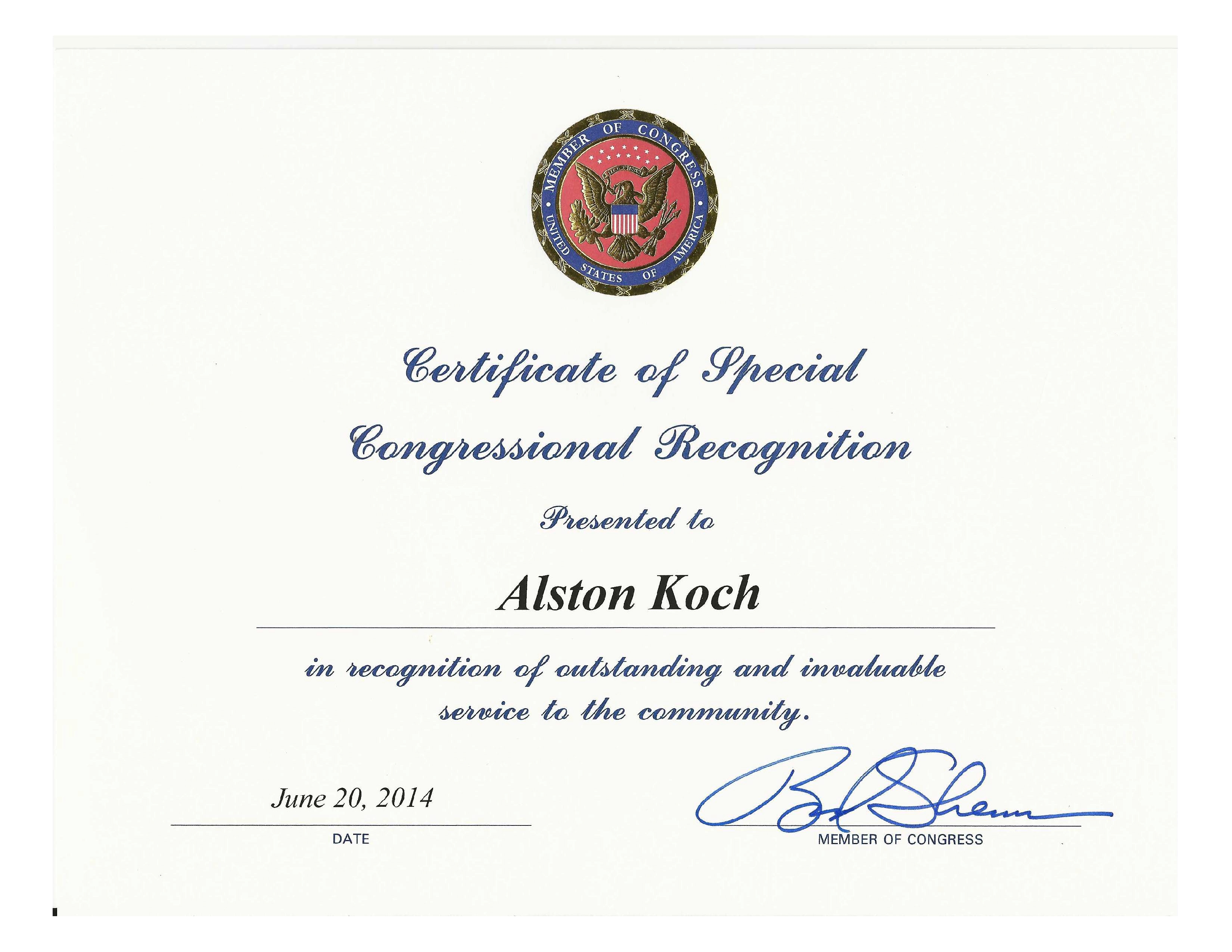 file certificate of special congressional recognition to alston koch