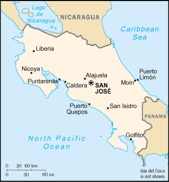Political map of Costa Rica. Costa Rica map.png